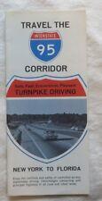 Vintage Map Brochure I-95 Interstate 95 New York to Florida  1960s #9033