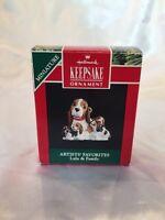 Lulu and Family 1991 Hallmark Mini Christmas Ornament  Dog  Puppy  Basset Hound