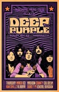Deep Purple 1972 Concert Poster, Deep Purple Art print, wall Art Decor