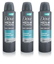 3 x Dove Men Care Clean Comfort Deodorant Spray Anti-Perspirant 150ml