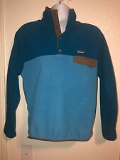 Patagonia Synchilla Men's Snap Pullover Fleece Sweater Small Blue Teal Brown Euc 00004000