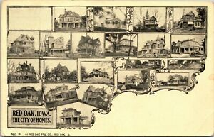 Red Oak Iowa city of Homes, old houses residences undivided back postcard