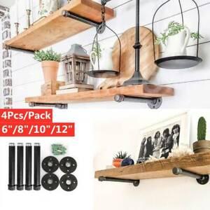 """4 PCS/Set 6""""/8""""/10""""/12"""" Iron Steampunk Industrial Steel Pipe Shelf Brackets"""
