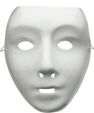 Plain White Mask, Paintable, matt finish, job lot pack of 6 robotic dance troop