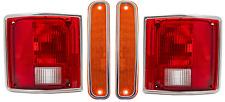 73-80 Chevy/GMC Truck Side Signal Marker Lamp & Brake Tail Light Lenses w/Chrome