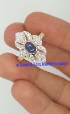 VINTAGE 14K 585 YELLOW GOLD DIAMOND & BLUE CABOCHON SAPPHIRE RUSSIAN DESIGN RING