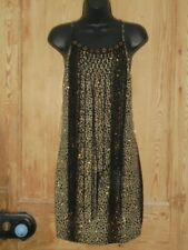 Jacaranda Black & Gold Sparkle Leopard Print Strappy Dress Fringing - Size 12