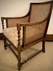 19th Century Oak Barley Twist Bergere Armchair