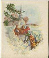1 VINTAGE CHRISTMAS GLITTER CHURCH HORSE MEN SHOVEL SNOW GREETING 1 SANTA CARD