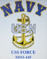 USS FORCE  MSO-445* MINESWEEPER * U.S NAVY W/ ANCHOR* SHIRT