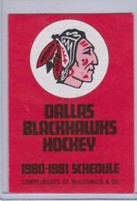 Official Pocket Schedule Hockey 1980-81 DALLAS BLACKHAWKS  - MINORS