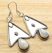 Blue Fire Rainbow Moonstone Earrings ! Silver Plated Metal Jewelry Handmade