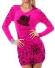 Sexy Miss Damen Flauschiger Pullover V Kuschel Pulli Pink Bunt 34/36/38 NEU