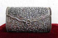 Sterling Silver 925 Clutch Bag Handmade Filigree Flower