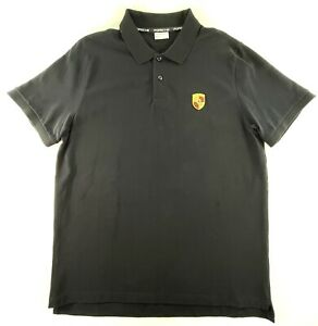 Porsche Driver's Selection Polo Shirt Black XL Embroidered Crest Logo Patch EUC