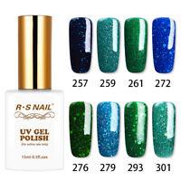 RS Nail UV LED Gel Nail Polish Varnish Soak Off Blue Green Glitter Colors 15ml
