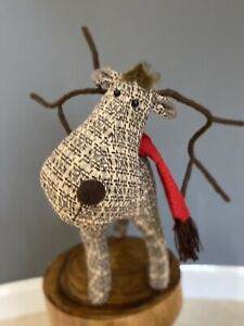 Reindeer Woodland Checked Traditional Christmas Xmas Decor Decoration Scandi