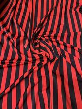 """Stripe Red/black Nylon Span 4way 58/60"""" Sold By The YD. From Los Angeles CA USA."""