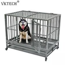 42 inch Portable Metal Dog Cage Kennel Crate for Cat Pets with Tray