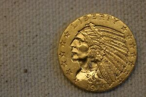 1914 $5 INDIAN HEAD HALF EAGLE GOLD COIN FIVE DOLLARS AU+++