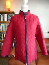 Size 12, MARKS & SPENCER Quilted Jacket/Coat, Lipstick Red, Navy Stitch + Trims