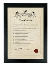 PERSONALISED VALENTINES DAY LOVE CONTRACT Framed GIFT FOR  WOMAN Romantic Gift