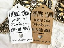 10 Gift Tags Baby Shower Favour Personalised Bomboneire Popping Soon Girl Boy