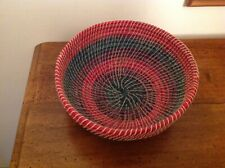 """Lovely Vintage African Woven Basket Approximately 9"""" in Diameter in VGC"""