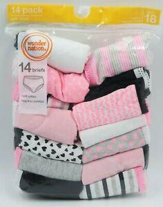 Wonder Nation Girls 14 Pack Multi Color Briefs Panites Underwear Size 18 NEW