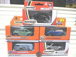 5 Matchbox VW VOLKSWAGENS MB1, 34, 52, 60, + 61 New Mint in Unopened Nu Mint Box