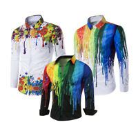 Fashion Mens Slim Fit 3D Paint Shirt Long Sleeve Cotton Dress Shirts Casual Tops