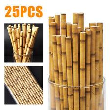 25Pcs Tiki Hawaiian Party Supply Paper Drinking Straws Tropical Bamboo Print #US