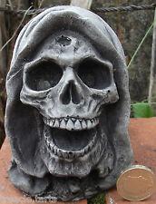 Small Hooded Skull - Stone Garden Ornament - Hand Cast - 8x8x11 cms 803 grams