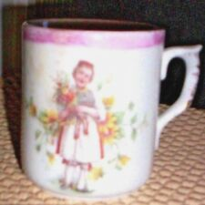 Antique Small Bavarian Mug with Girl Holding Flowers Design ~ Unmarked~
