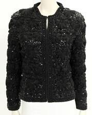 Lillie Rubin Vintage Black Flower Ribbon Sequin Beaded Jacket Size Medium M 6 8