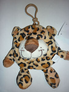 PORTAMONETE ANIMALE FORESTA LEOPARDO ghepardo pupazzo morbido gadget borsellino