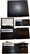 4 New Men's bi-fold Leather Wallet 7 credit card ID Change purse 2 billfold BN