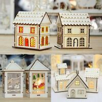 Christmas LED Light Wooden House Creative Tree Hanging Ornament Baubles Decor