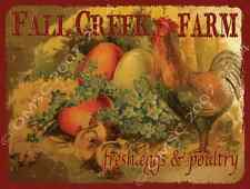 Fall Creek Farm Fresh Eggs Metal Sign, Rustic Country Cottage, Cafe, Diner Decor