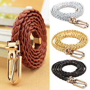 Womens Belts Elastic Stretch Woven Braided Buckle Webbing Jeans Thin Waistband