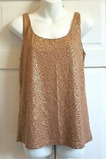 NEW Talbots Tank Top Sequined MEDIUM Brown  Lined Rayon Lyociel MSRP $69.50 NWT