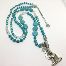 """TOPSHOP"" GENUINE TURQUOISE BEAD LONG NECKLACE WITH BUDDHA PENDANT**BNWOT"