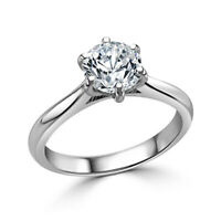 950 Platinum Solitaire Real Diamond Engagement Ring Round 0.50 Ct Size M N 1/2 P