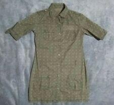 xs 8 PEPE JEANS London long green designer shirt top dress tunic blouse cotton