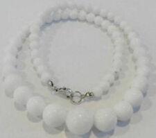 6-14mm Natural White Jade Gemstone Round Beads Necklace 18'' Extend