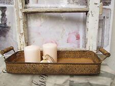 Tablett Antik Rost Braun Metall Kerzentablett Deko Shabby Vintage längst Griffe