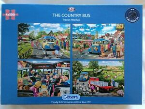 Brand New Gibsons 4 x 500 Piece Jigsaw Puzzles - THE COUNTRY BUS