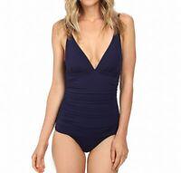 Tommy Bahama Womens Swimwear Blue Size 4 Pearl V-Neck One-Piece $130- 674