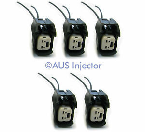 Set of 5 Fuel Injector Pigtails fit Bosch EV6/EV14 USCAR GM FORD VOLVO [EV6F-5]