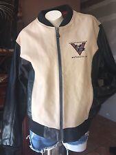 Harley Davidson Leather Biker JACKET SIZE XL W ~~ Ivory  & Black Color